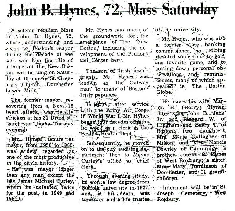 Mass for John B. Hynes - January 1970