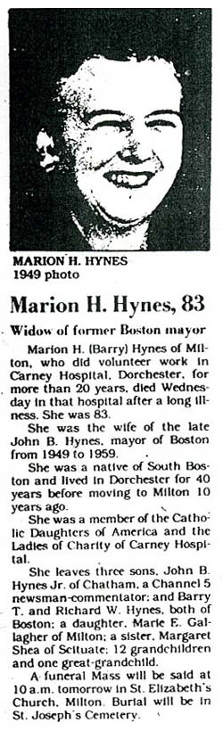 Death Notice of Marion H. Hynes, wife of John B. Hynes - June 1982
