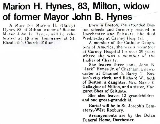 Obituary of Marion H. Hynes, wife of John B. Hynes