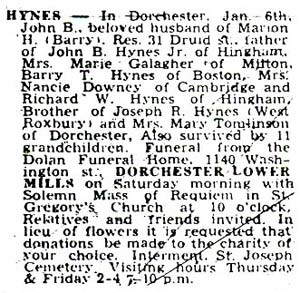 Death Notice of John B. Hynes